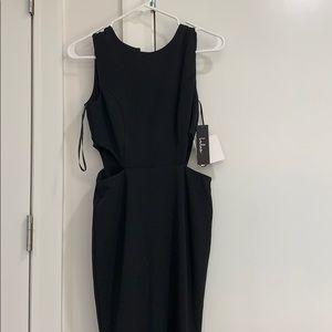 Black long side cutout dress